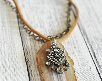 Leather & Tan Chandelier Natural Stone Necklace