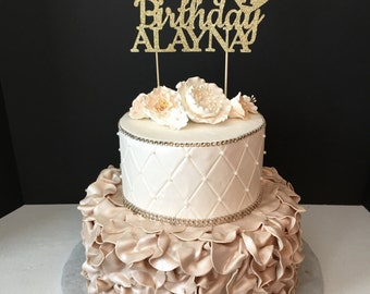 Any Number! Gold Glitter Personalized One Cake Topper, 1st Birthday Cake topper, First birthday cake topper, Happy Birthday Cake Topper
