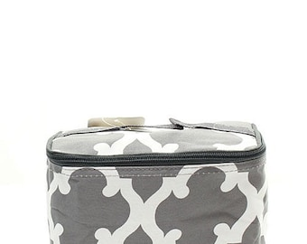 Monogrammed Gray Quatrefoil Cosmetic Bag- Personalized Gift-Monogram Cosmetic Bag-Personalized Makeup Bag-Embroidered Cosmetic Bag