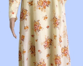 HANDMADE vintage 1970s yellow floral maxi dress UK 10/12