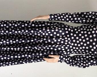 Vintage black and white polka dot low back dress UK 8/10