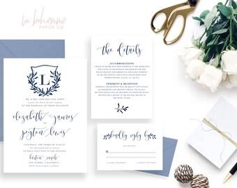 Printable Wedding Invitation Suite / Wedding Invite Set - The Royal Crest Suite