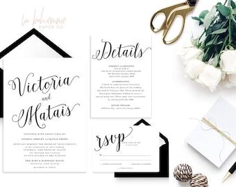 Printable Wedding Invitation Suite / Calligraphy / Wedding Invite Set - The Victoria Suite