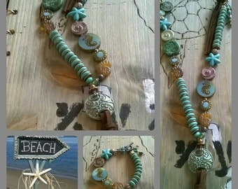 Long necklace turquoise Czech glass beads leather band