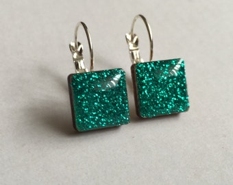 Emerald Glitter Square Silver-Plated Hanging Earrings