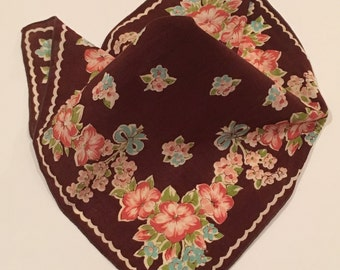 Vintage Brown Floral Handkerchief, Blue and Pink Flowers on Brown Background, Shabby Chic Handkerchief