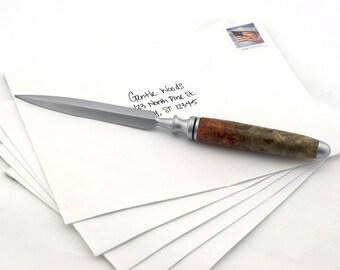 Handmade Letter Opener in Amboyna Burl | Unique Gift & Perfect Desk Accessory