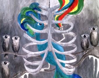 Original Surreal Watercolor Bird