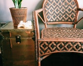 Vintage Rattan Chairs w/ Black Diamond Pattern