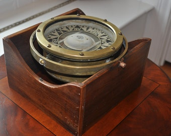 1920s Vintage Magnetic Compass Restored For Display
