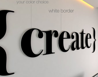 Create - Office Decor - 3D - Office Wall Art - Logo - Fretwork - Office Art - PVC and Vinyl - Sign - Gift - Home decor - SKU: Crea