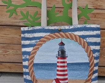 Faro-Shopper gobelin, handmade piece of beach collection, drawing lighthouse