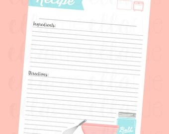 Printable Recipe Cards, Pages, Mason jar, Holiday, Christmas, Thanksgiving, Summer, Printables