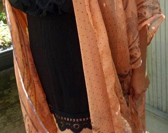 Oshun Handmade from Vintage Fabric One of a kind Peach Boho sheer Kimono