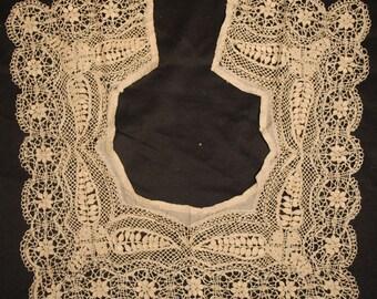 Antique Lace 19TH C. MALTESE Lace Silk Collar Handmade