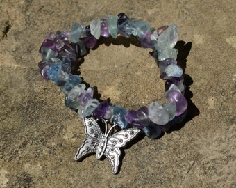 Handmade Multi-Fluorite Stretch Bracelet with Silver Butterfly Charm