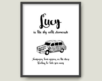 Lucy in the sky with Diamonds, Beatles, Printable Lyrics typography illustration poster Minimalist print Song quote Wall decor (012)