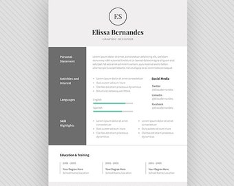 "Resume Template / CV Template + Cover Letter for MS Word and Photoshop | Instant Digital Download - ""Achernar"""