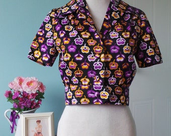 Purple and Yellow Flower 70's Vintage Cropped Short Sleeved Jacket