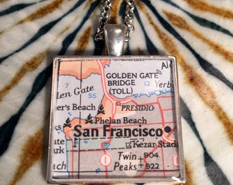 San Francisco Map Pendant Necklace or Keychain