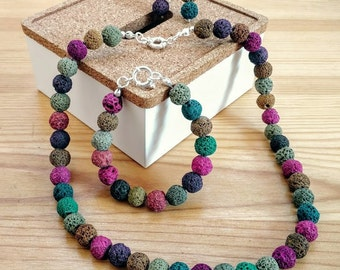 Necklace of volcanic stones of colors