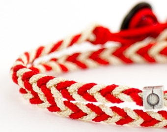 Bracelet braided rope timeless red & white