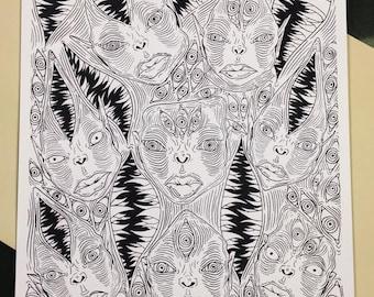 Gremlin Art Print - 8 Heads