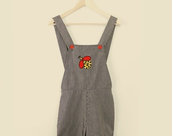 Women's Vintage 1960's 1970's Blue & White Striped Romper Overalls with Lady Bug Patch Adornment