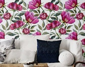 Floral removable wallpaper, Garden rose wall mural, Floral wall decor, BW069