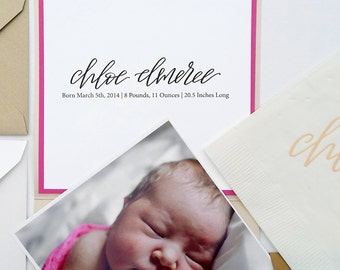 Baby Announcement, Birth Announcement, Pink and Gold, Photo Announcement, Announcements, It's a Girl, Pocket Fold