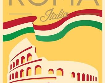 Travel Poster, Vintage Travel Poster, Travel, Vintage, Rome