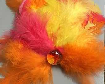 Neon Creamsicle, 1960-1980s style, Carnival Colors, Feather hair clip