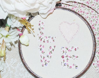 Floral love hand stitched embroidery hoop