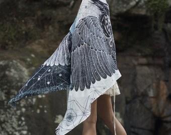 Black and White Feather Bird Wings Pashmina Sarong Scarf, Totem Festival Shawl Gypsy Bohemian Clothing Nature Ajjaya Rave Art
