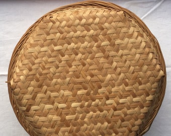 Vintage Hand-Woven Split-Bamboo Round Basket w/ Matching Lid