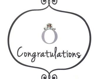 Handmade Wedding or Engagement Congratulations Greeting Card #LWE-065
