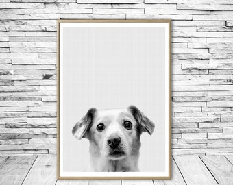 Dog Print, Dog Wall Print, Dog Art, Dog Wall Art Print, Dog Art Print, Nursery Print, Black and White Print, Fine Art Print, Nursery Decor.
