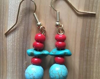 Turquoise and Acrylic Bead Earrings