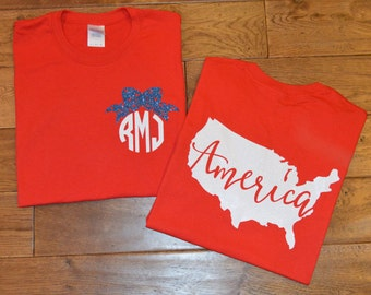 4th of July Shirt/ Fourth of July Shirt/ Monogram American Shirt/ Monogram 4th of July Shirt/ Patriotic Shirt/