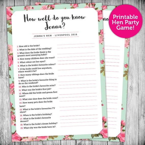 How Well Do You Know The Bride Game Personalised Hen Party