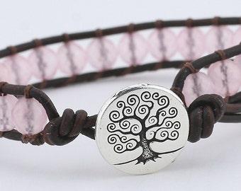 Leather wrap bracelet, single wrap, leather bracelet, pink quartz, wrap, beaded bracelet, beads, bracelet