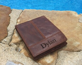 Personalized Monogrammed leather wallet, mens wallet, leather wallet, groomsmen gift, gift for him