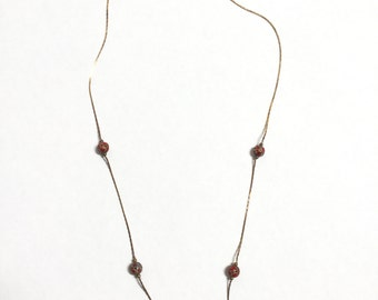 Vintage Brass Necklace with Copper Enamel Red Beads - 1 Piece - #405