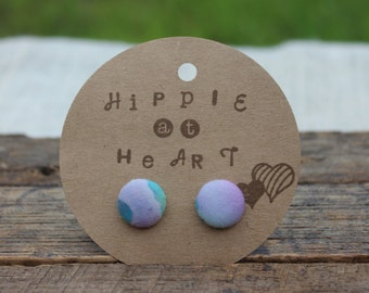 Light Tie Dye Button Earrings