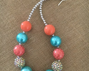 Coral and Quatrefoil with Teal/Aqua Bubblegum Chunky Necklace