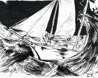 ACEO: Ship in storm