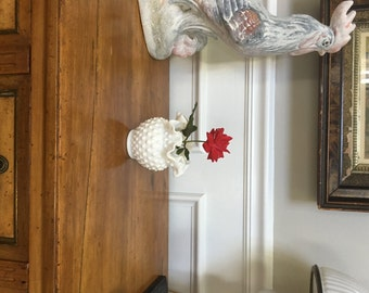 Fenton Vase Hobnail Milk Glass Vintage Posey Art Glass Ruffled Vase