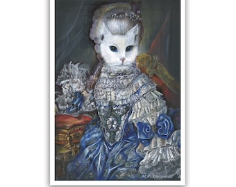 The Regal Cat / Cat Art Print / Marie Antoinette Costume / Classical Cat Artworks of Animal Century