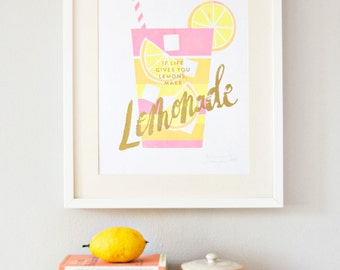Lemonade screenprint gold/pink/yellow