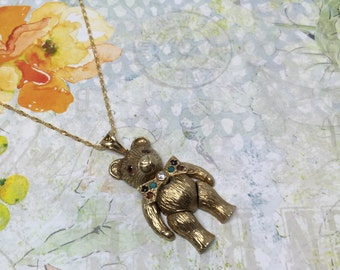 Vintage 9ct 9k Articulated Bear Pendant Charm Necklace